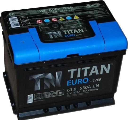 Аккумулятор TITAN EURO Silver 63 R+