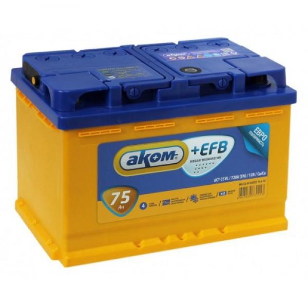 Аккумулятор Аком +EFB 75A, п/п