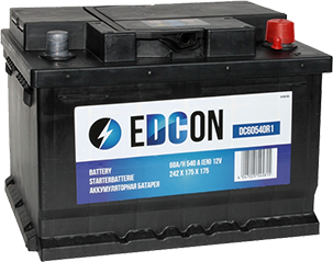 Аккумулятор автомобильный EDCON 60A, R+