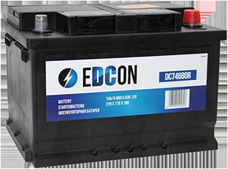 Аккумулятор автомобильный EDCON 74A, R+