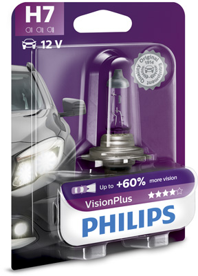 Лампа галогеновая Philips Vision Plus H7, 12972VPB1