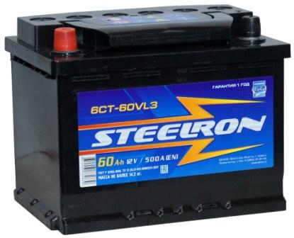 Аккумулятор автомобильный Steelron 60A, R+