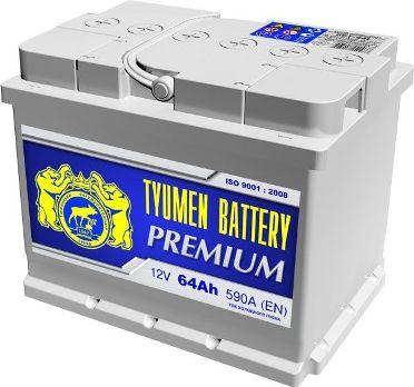 Аккумулятор для автомобиля Тюмень Premium 64Ah 590A, L+