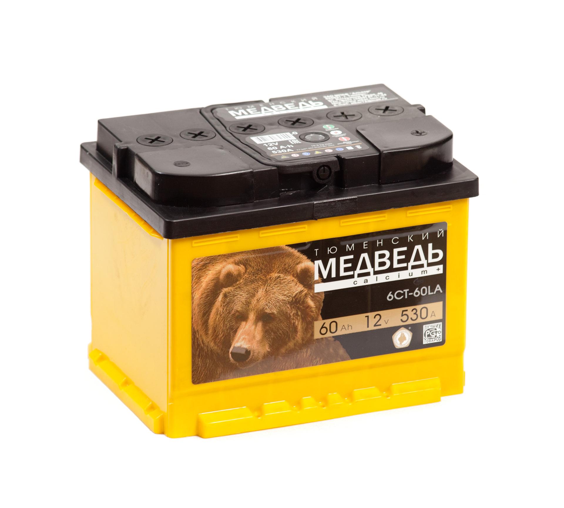 Аккумулятор Тюменский медведь 60А, L+