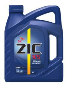 Масло моторное ZIC X5 10W-40 полусинтетика, 4 л.